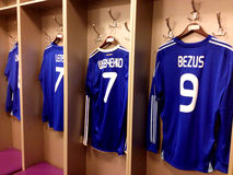 Maglietta dei calciatori a Kiev lo Stadio Olimpico Fotografie Stock