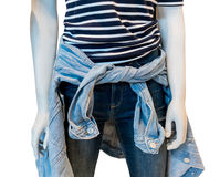 Maglietta del modello a strisce con tralicco ed il rivestimento blu stretti su manne Fotografia Stock Libera da Diritti