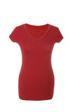 Maglietta femminile vuota, isolata su fondo bianco fotografie stock