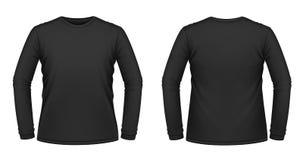 Maglietta long-sleeved nera Fotografia Stock Libera da Diritti