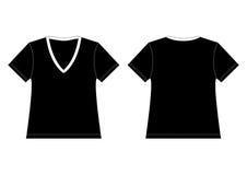 Maglietta nera del V-Collo Fotografia Stock