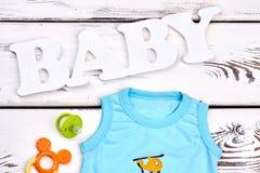 Maglietta sveglia del neonato, accessori Fotografia Stock