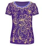 Magliette di progettazione Stampi un ornamento alla moda per women& x27; fashio di s royalty illustrazione gratis