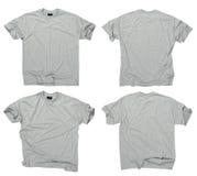 Magliette grige in bianco parte anteriore e parte posteriore Immagine Stock
