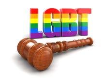 maglio di legno 3d con testo LGBT Fotografia Stock