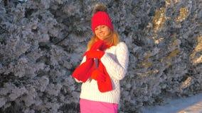 Maglione adorabile di signora In A White Warm che gode sulla via, legante una sciarpa rossa video d archivio