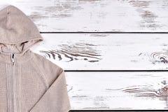 Maglione beige caldo incappucciato dei ragazzi Fotografia Stock