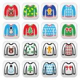 Maglione brutto di Natale sui bottoni del saltatore messi Fotografia Stock Libera da Diritti