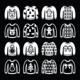 Maglione brutto di Natale sulle icone bianche del saltatore messe Fotografie Stock