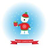 Maglione dell'orso in rosso che fora il contenitore di regalo illustrazione di stock