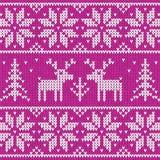 Maglione della Rosa con l'ornamento di vettore dei cervi Fotografia Stock