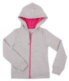 Maglione grigio di maglia con cappuccio del bambino Isolato su bianco Fotografia Stock