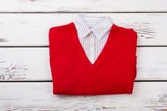 Maglione rosso femminile con impiegatizio Immagine Stock