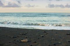 Magma Beach. Twilight on a magma beach at the Island of Tenerife Royalty Free Stock Image