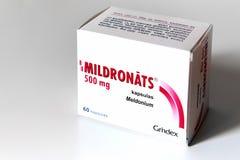 Magnésio 500 de empacotamento de Meldonium (igualmente conhecido como Mildronate) fotografia de stock royalty free