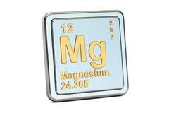 Magnésio, sinal do elemento químico do magnésio rendição 3d Ilustração Stock