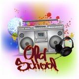 Magnétophone de vintage pour les cassettes sonores Boombox de musique Photo libre de droits