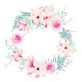 A magnólia, as rosas e o casamento da samambaia envolvem o quadro do vetor Fotos de Stock