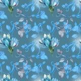 Magnólia azul no teste padrão Foto de Stock Royalty Free