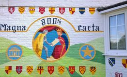 Magna Carta Mural England. Mural on the wall of a house celebrating the 800th anniversary of Magna Carta. Runnymede, Surrey, England Royalty Free Stock Photography