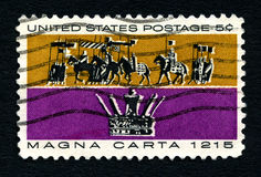 Magna Carta US Postage Stamp. UNITED STATES OF AMERICA - CIRCA 1965: A used postage stamp from the United States of America, dedicated to the creation of the royalty free stock image