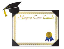 Magna Cum Laude College Diploma with cap and tasse Royalty Free Stock Photos