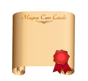 Magna Cum Laude College graduation Diploma Royalty Free Stock Photo