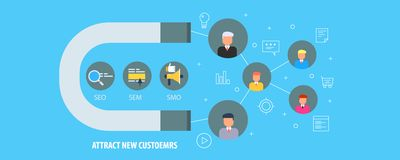 Magneet die nieuwe klanten attarcting - Binnenkomende marketing strategie voor online zaken, klantenaanwinst Vlakke ontwerp vecto vector illustratie