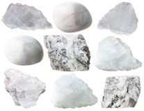 Magnesite rocks and tumbled gem stones isolated Stock Photography