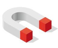 Magnesu symbol w isometric perspektywie Magnesowa siła, przyciąganie, magnesowanie i odpychanie, ilustracji