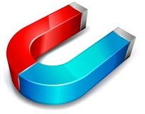 Magnet. Horseshoe red-blue magnet over white background, vector illustration vector illustration