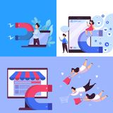 Magnet attract customer web banner concept set. Business marketing and advertisement. Advertise target audience. Vector illustration in cartoon style vector illustration