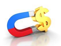 Magnet Attract Money Golden Dollar Symbol. Finance Concept. 3d Render Illustration Stock Photography