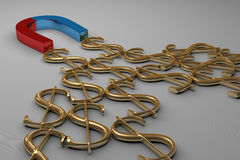 Magnet Attracting Dollar Signs Stock Photo