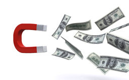Magnet attracting money. Magnet attracting hundred US dollar bills on the white background (3d render Stock Photos