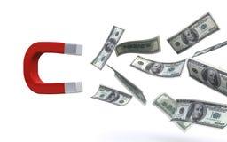 Magnet attracting money. Magnet attracting hundred US dollar bills on the white background (3d render vector illustration