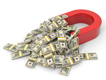 Magnet attracts money. Stock Images