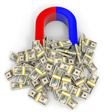 Magnet attracts money. Royalty Free Stock Images
