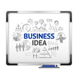 Magnet board with business ideas sketch. White magnet board with infographic business creative ideas strategy presentation dry-wipe black marker sketch abstract Stock Image