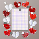 Magnet board with paper hearts and message note Royalty Free Stock Photography