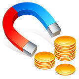 Magnet and coins. Stock Images
