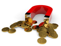 Magnet with coins. Royalty Free Stock Image