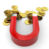 Magnet with coins. Stock Image
