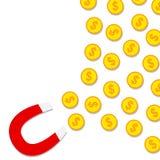 Magnet, der Münzen anzieht Stockbild