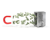Magnet with dollar banknotes and safe,. Isolated over white background Royalty Free Stock Photography