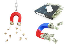 Magnet dollar set on a white background Stock Images