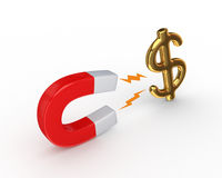 Magnet and dollar sign. Royalty Free Stock Photo