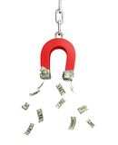 Magnet dollar. On a white background Royalty Free Stock Photography