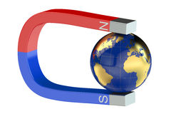 Magnet and earth. On white background Royalty Free Stock Image