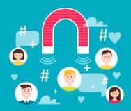 Magnet Engaging Followers. Social Media Marketing Concept Stock Photos